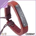 pulseras baratas con letras aleación pulseras tejidas a mano de cuero