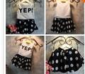 оптовые новые 2014 девочек yep письмо печати t- shirt+ точки юбка одеёда мноёество летом дети моды одеёды мноёеств снаряжение