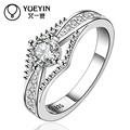 De compromiso de boda exquisito anillos cúbicos de plata caliente zirconic 925