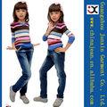 2013 mono de los pantalones vaqueros de lavado para niña 100% algodón de los pantalones vaqueros del cabrito (JXK31843)