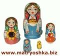 Matryoshka matrioska babuska de anidación muñeca rusa de madera, estilo familiar, tallada de madera y pintada a mano en Rusia