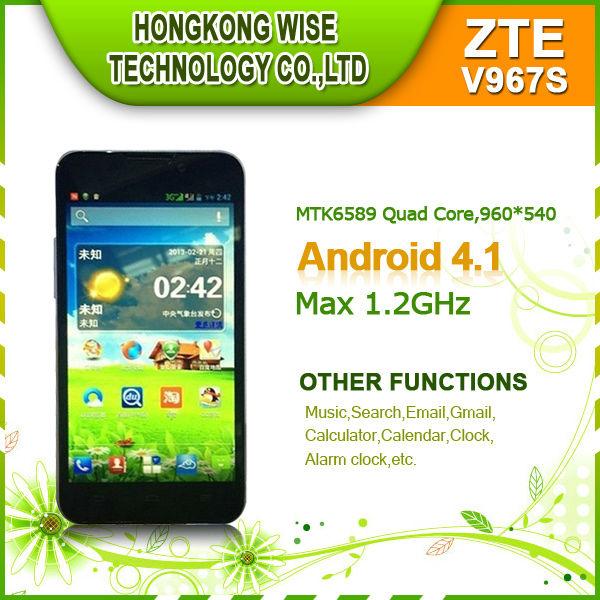 Venta al por mayor de zte v967s 5ips pulgadas pantalla mtk6589 quad core móvil smartphone android 4.1 de doble cámara 1gb/4gb