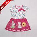 nuevo 2014 baby peppa pig ropa ropa de niños niñas puntos de verano de la flor de impresión y bordado vestido 6724