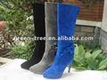 tacón alto azul marino botas de cuero