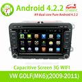 Pure android 4.2.2 vw y skoda de radio del coche con gps bluetooth/radio/tv/gps/3g/wifi/android! El precio de fábrica!