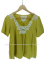 Venta caliente amarillo blusa de lino encaje sencillo para damas