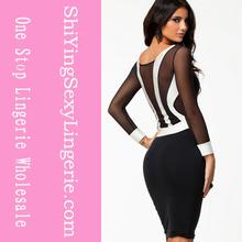 blanco y negro sexy midi bodycon 2014 vestido