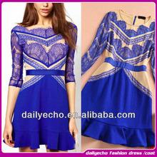 la mitad de la manga vestido de encaje casual azul de moda de ropa de mujer