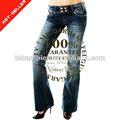 ( tg161w) clássico 5- design de bolso aba alargada sob medida senhoras perna larga jeans