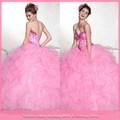 dl946 adorable caliente de color rosa de tela de organza vestido de bola vestido de quinceañera