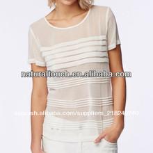 Las niñas 2014 de manga corta de gasa plisada superior/blusa( ntf03033)