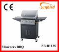 Sb-b213s al aire libre asador de acero inoxidable 3 asador quemador