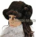 Cx-c-13e frescos de corea tejidos a mano de piel de visón sombrero del invierno