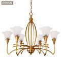nuevo de lujo de antigüedades de latón de bronce colgante de cobre de luz colgante de la lámpara con pantalla de vidrio