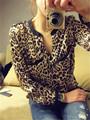 damas de manga larga blusa de leopardo