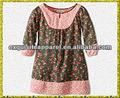 Manches en coton bio 3/4 tissé robe d'été pour les enfants filles vêtements d'été
