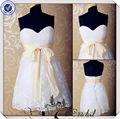 jj3562 de encaje falda corpiño repique de la rodilla longitud corta sexy mini vestido de novia blanco corto