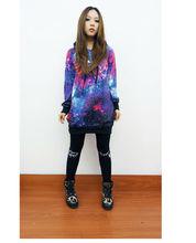 YYH blusa 2014 Womens Galaxy Espacio estrellada Top Jumper Top con capucha Escudo