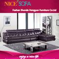 moderna de alta qualidade marrom preto canto sofá de couro a825l