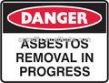 pp señales de seguridad señal de peligro de eliminación del amianto en el progreso inhibidor de rayos uv