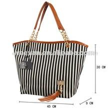 raya negra lona playa bolsa Playa Linda, venta por mayor bolso para las niñas, bolsa de yute