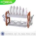 2-Tiers multifuncional de metal y estante para platos de madera