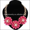 Sn125 la perla de flores de oro de la cadena babero declaración& collares colgantes mujeres regalo de la joyería