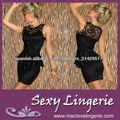 Elegante Encaje Negro Vestido de dos piezas de las señoras vestido Peplum Oficina ML17912