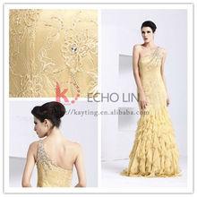 elegante y sexy backless un hombro con cuentas de oro de cola de pescado de encaje vestido de noche 8057