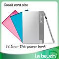 850mAh tarjeta de potencia tamaño cartera super delgado