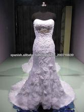wr2105 de última imagen hecha a mano de flores de encaje victoriano sirena vestido de novia