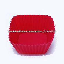 No- palo y barato de silicona cuadrados taza de torta del molde