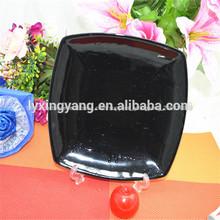 Quadrado preto prato de cerâmica./quadrado preto placa/quadrado de porcelana prato