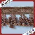 Rideau de dentelle frange gland de forme pompon avec des perles, utilisé pour les rideaux accessoires