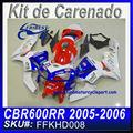 CALCOMANIAS DE CARENADO DE MOTOCICLETAS CBR600RR 2005-2006 BLUE&WHITE MADIF FFKHD008