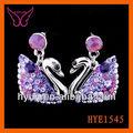 Diseños pendientes girsl para el diseño de los animales pendientes de cisne, cisne de cristal pendientes, pendientes de cisne