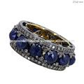 anillo de con zafiros azules incrustados de de venta anillos de con piedras preciosas anillo la norma en oro amarillo de de 14k