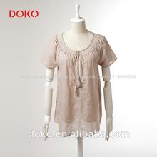 2014 nueva llegada de gris o de- manga corta cuello de encaje de verano de moda casual hermoso blusas