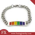 colorido de diseño de producto de acero inoxidable de la cadena con esmalte de color del arco iris pulsera de telar