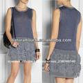 El último de la moda las mujeres casual sin mangas vestido corto con flores de ganchillo falda( ntf04073)