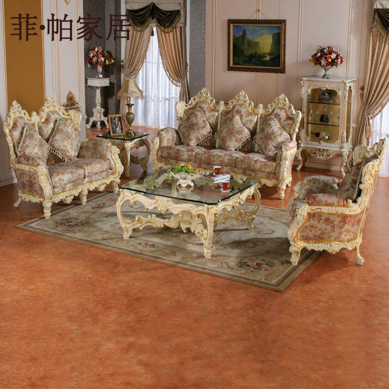 Franc s lounge ocio sof de la tela antiguo sal n de - Comedores antiguos de madera ...