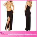 أزياء فريد الجبهة جملة ذهبية انقطاع شفاف أسود مثير حمالة فستان ضيق