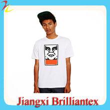 Alta calidad 100% algodón de cuello redondo Blanco liso camiseta para los hombres