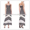 Senhoras duas peças e saia longa desenhos preto e branco de vestidos de noiva( ylq03334)