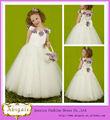 2014 bola vestido de tirantes de espagueti fuera de los hombros sin mangas con la flor de la boda vestido de niña de las flores