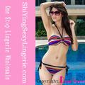 las mujeres al por mayor sexy de rayas de colores triángulo superior del bikini