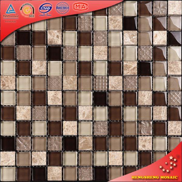 KS233 Várias cores e artesanato mosaico de pedra da telha com malha de volta para o fundo da TV