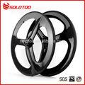 Brillante ud 3k superficie de fibra de carbono tri- ha hablado de ruedas de bicicleta, tres ruedas de radios