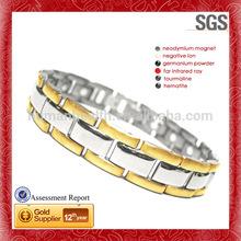 diseñador de oro pulsera de la energía enlace brillante pulsera de titanio
