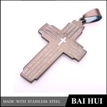 venta al por mayor de encargo de acero inoxidable negro de la biblia cruz colgante